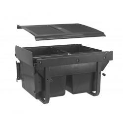 Сегрегатор GTV для кухонних шаф низький 450 мм 2х15л з кріпленням Графіт