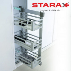 Корзина для белья 3-х уровневая выдвижная, Starax S-6271 LВ боковое крепление левая алюминий