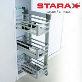 Купить Корзина для белья 3-х уровневая выдвижная, Starax S-6271 LВ боковое крепление левая алюминий КОРЗИНЫ ДЛЯ БЕЛЬЯ от Мебельная фурнитура STARAX (Турция)