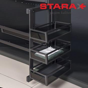 Купить Карго в шкаф 3х уровневая выдвижная с доводчиком Starax S-6781 левое антрацит КАРГО В ШКАФ от Мебельная фурнитура STARAX (Турция)