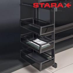 Карго в шкаф 3х уровневая выдвижная с доводчиком Starax S-6782 правое антрацит