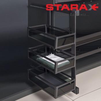 Купить Карго в шкаф 3х уровневая выдвижная с доводчиком Starax S-6782 правое антрацит КАРГО В ШКАФ от Мебельная фурнитура STARAX (Турция)