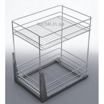 Купить Карго для кухни 400мм Хром 2 полки нижн крепл полного выдвижения ДС КАРГО КУХНЯ от Мебельная фурнитура ДС