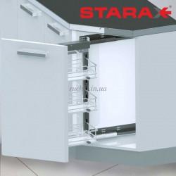 Карго 3-х уровневое Starax S-2201 45° в секцию 250 мм крепление правое Хром