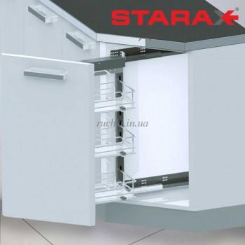 Купить Карго 3-х уровневое Starax S-2201 45° в секцию 250 мм крепление правое Хром КАРГО КУХНЯ от Мебельная фурнитура STARAX (Турция)