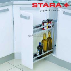 Карго для кухни Starax S-2806 B  корзина бокового крепления, в секцию 150 мм  с дов., алюминий