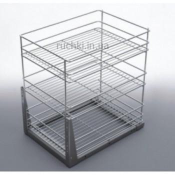 Купить Карго для кухни 400мм Хром 3 полки полного выдвижения ДС КАРГО КУХНЯ от Мебельная фурнитура ДС
