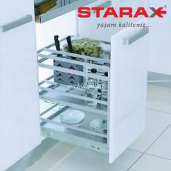 Карго для кухни Starax S-2821 В нижнего крепления,в секцию 300 мм с доводчиком, алюминий