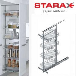 Карго для кухни Starax S-1101 галерея выдвижная 230х500х600-800 мм, 2полки секция 300 мм