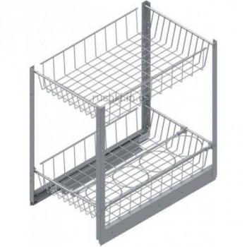 Купить Карго для кухни S-2102-1 2-х уровневое серое с сеткой для бутылок 400мм 310х500х520 с доводч КАРГО КУХНЯ от Мебельная фурнитура STARAX (Турция)