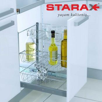Купить Карго для кухни S-2121 3-х уровневое хром с сеткой для бутылок в секцию 350мм КАРГО КУХНЯ от Мебельная фурнитура STARAX (Турция)