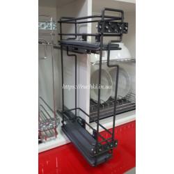 Карго для кухни Mini 2-х уровневое Starax S-2317 L левое антрацит, с доводчиком, полного выд.