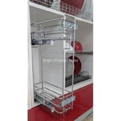 Карго для кухни Mini 2-х уровневое Starax S-2313 L левое хром, с доводчиком, полного выд.