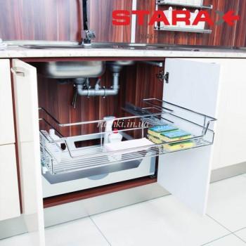 Купить Корзина полного выдвижения под мойку секция 800мм STARAX S-2351 хром КОРЗИНА ПОД МОЙКУ от Мебельная фурнитура STARAX (Турция)