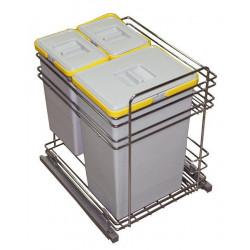 Выдвижная корзина для мусора VIBO модуль 450 с доводчиком 30+10+9 л