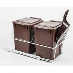 Ведро для сортировки мусора REJS с совком и метёлкой корич.