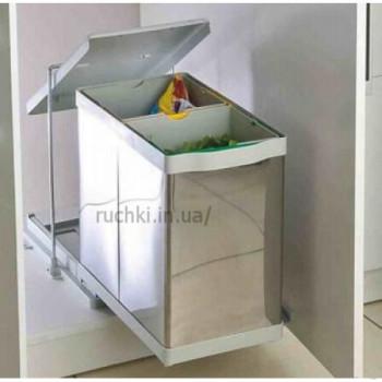 Купить Ведро для сортировки мусора PELIKAN 14+14 л двухсекционное автомат. ВЕДРО ДЛЯ СОРТИРОВКИ МУСОРА от Мебельная фурнитура Pelikan (Турция)