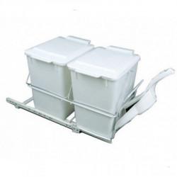 Встроенное мусорное ведро для кухни REJS с совком и метёлкой белое