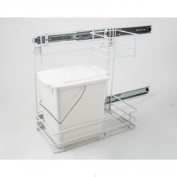 Встроенное мусорное ведро для кухни REJS белое с метал. сеткой