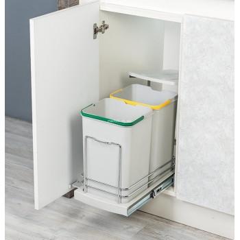Купить Встроенное мусорное ведро для кухни STARAX 12+12 л ВСТРОЕННОЕ МУСОРНОЕ ВЕДРО ДЛЯ КУХНИ от Мебельная фурнитура STARAX (Турция)