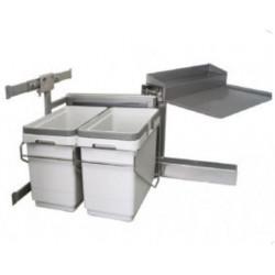 Встроенные мусорные ведра для кухни под мойку VIBO мод. (лев.) 450 с доводчиком 15+15 л