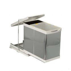 Выдвижное мусорное ведро 20+1 л автомат нерж. сталь