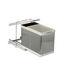 Выдвижное мусорное ведро 16+1 л автомат нерж. сталь