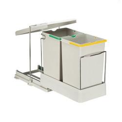 Выдвижное мусорное ведро 14+14 л двухсекционное с автоматической системой