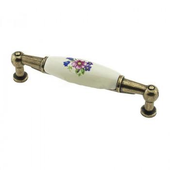 Купить Керамические ручки для мебели  DP 211/96 бронза античная/розовый цветок С КЕРАМИКОЙ от Мебельная фурнитура ДС