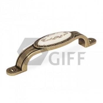 Купить Керамические ручки для мебели GIFF8/142-96 AB/MLK античная бронза С КЕРАМИКОЙ от Мебельная фурнитура GIFF