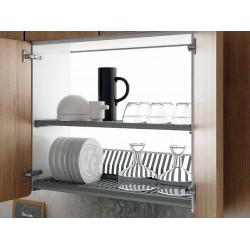 Сушка в кухонный шкаф800 с алюминиевой рамкой Inoxa Helios 730 ардезия (2 полки, поддон пластик)