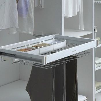Купить Вешалка для брюк центральная с 2 лотками 564-664мм Muller ВЕШАЛКИ ДЛЯ БРЮК от Мебельная фурнитура MULLER