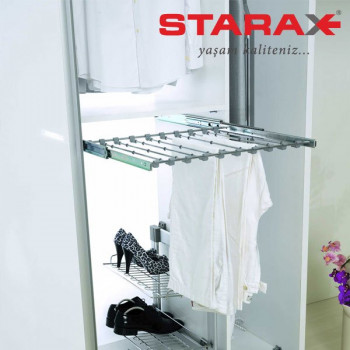 Купить Вешалка для брюк выдвижная бокового крепления, в секцию 400 мм Starax S-6023 ВЕШАЛКИ ДЛЯ БРЮК от Мебельная фурнитура STARAX (Турция)