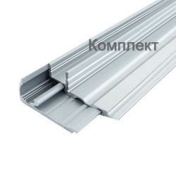 Комплект профиль + рассеиватель для светодиодной ленты алюминиевый BIOM для ступенек LPS-22 (LPS-22/1+LPS-22/2) анодированый, (палка 2м)