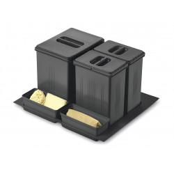 Ведро для сортировки мусора выдвижное 600 Inoxa 97DA/6012 ардезия (1 поддон, 1 ведро 16 л, 2 ведра 7,5 л, 2 лотка)