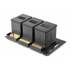 Ведро для сортировки мусора выдвижное  900 Inoxa 97DA/903 ардезия (1 поддон, 3 ведра 16 л, 3 лотка)