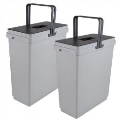 Ведро для сортировки мусора выдвижное 600мм (36+36)л с доводчиком , h=526мм, Globe VIBO (PGTM602MG)